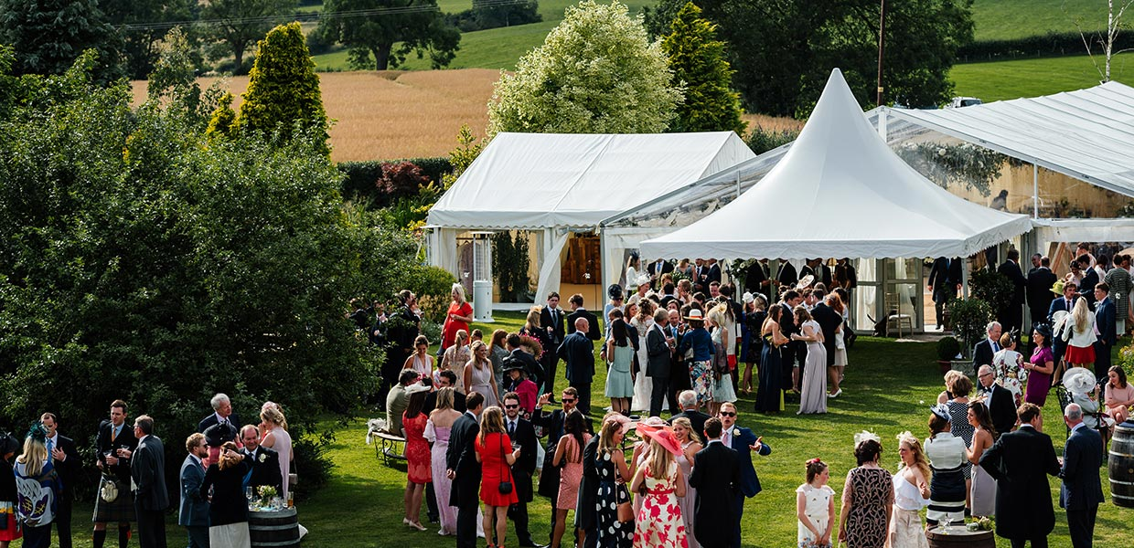 Countryside wedding landscaped garden